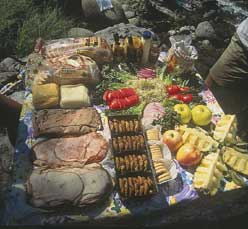 Incredible Lunch Spread during your Whitewater Rafting Trip