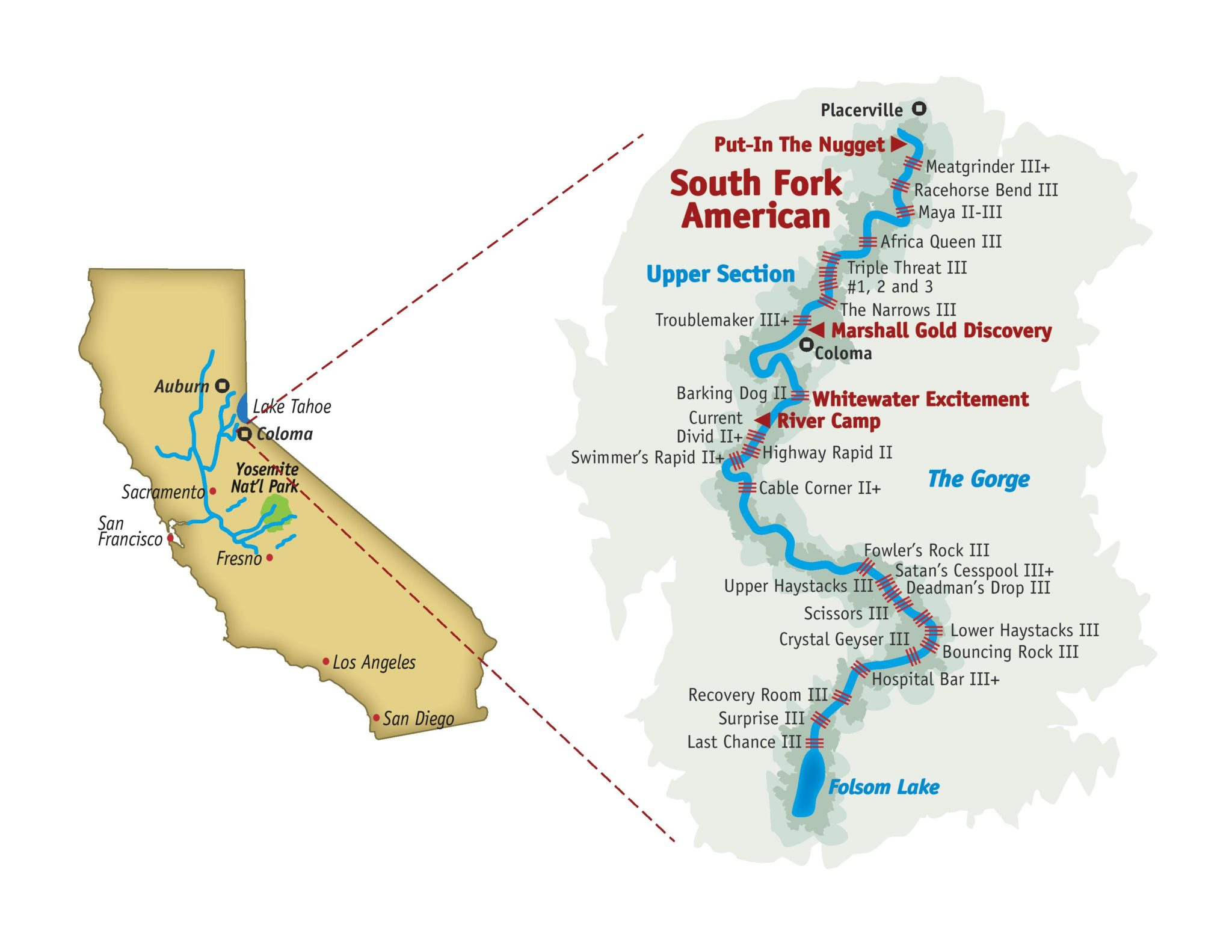 South Fork American river rafting map