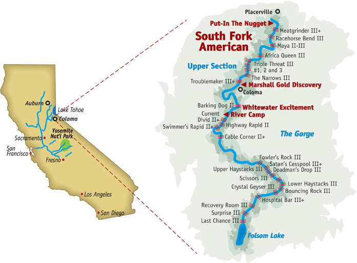 South Fork American river rafting map.