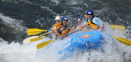 rafters crashing through wave on south fork american river