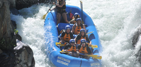 rafters in final drop of tunnel chute rapid on middle fork american near Sacramento